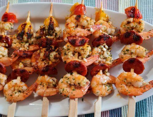 Brochettes de Crevettes et Chorizo à la Plancha