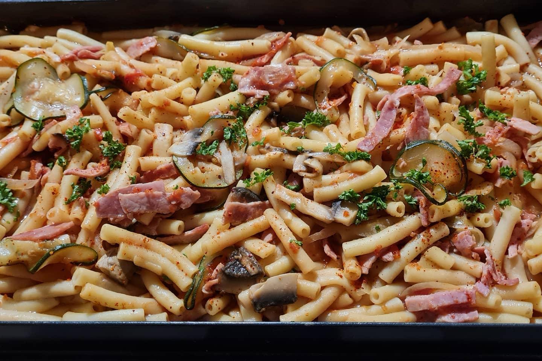 One-Pot-Pasta-Jambon-Champignons-Courgettes
