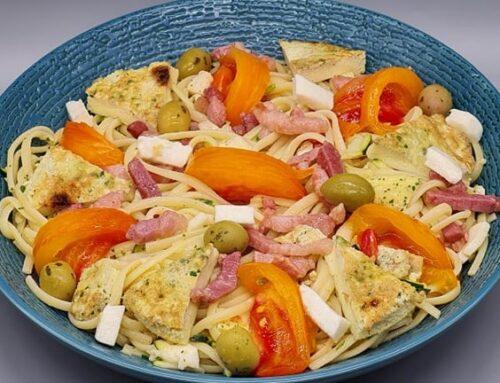Salade Spaghettis Omelette Lardons